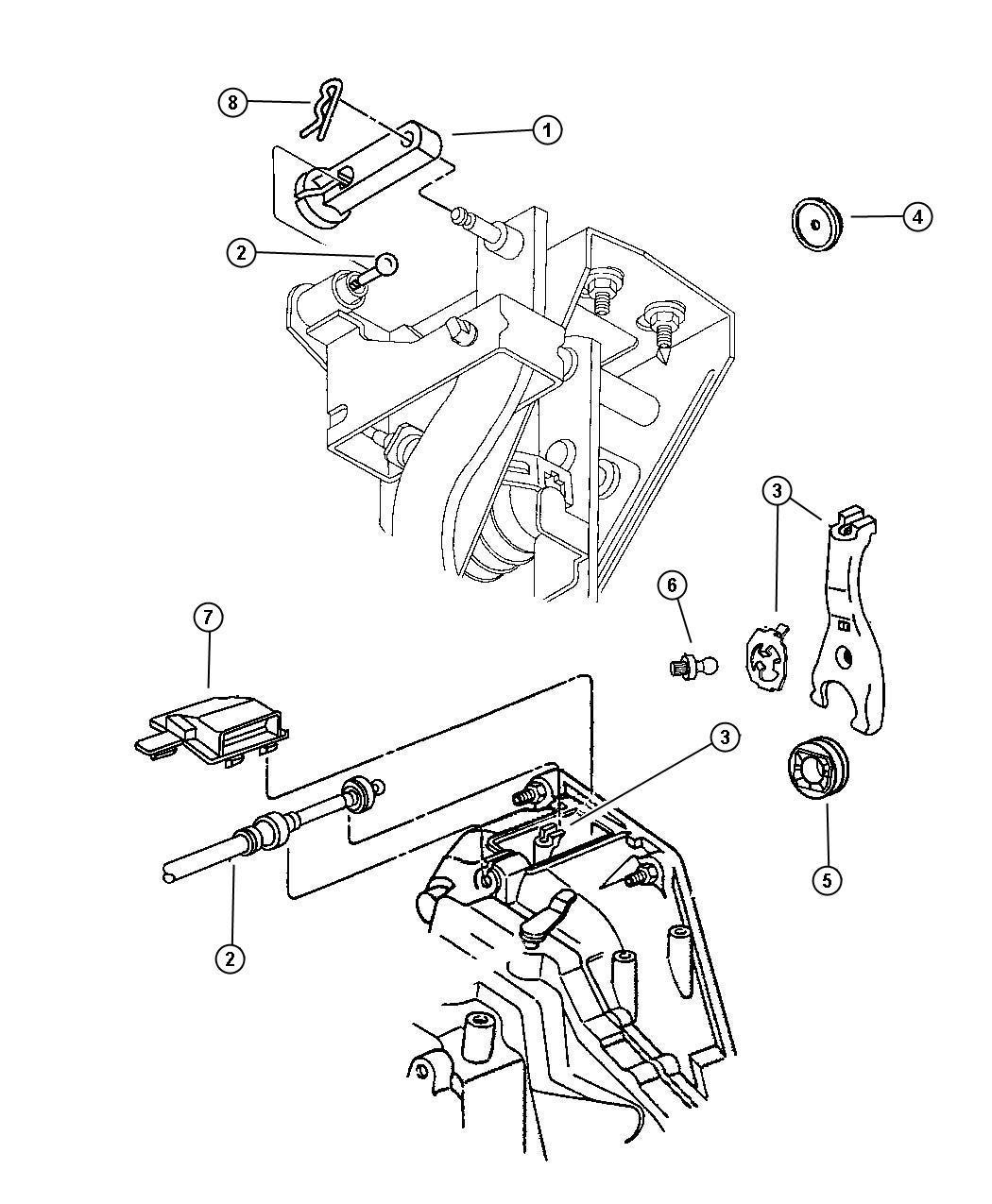 1995 Chrysler Cirrus Cable. Clutch release. Linkage, mopar