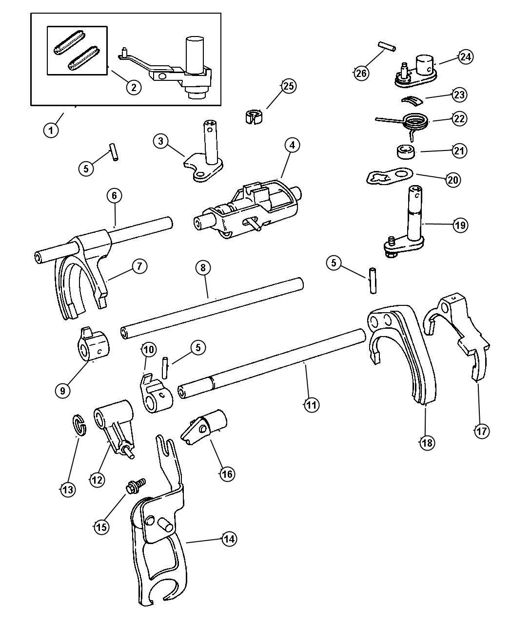 Dodge Neon Spacer Inner Crossover Lever