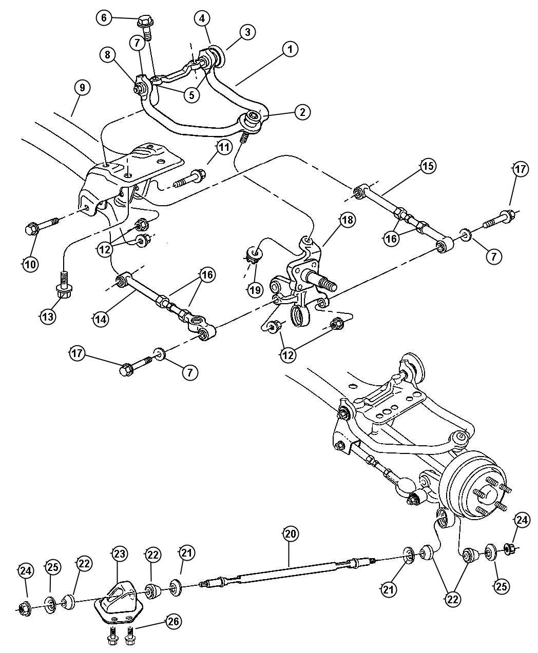 1998 Dodge Avenger Link. Rear lateral. Suspension, brakes