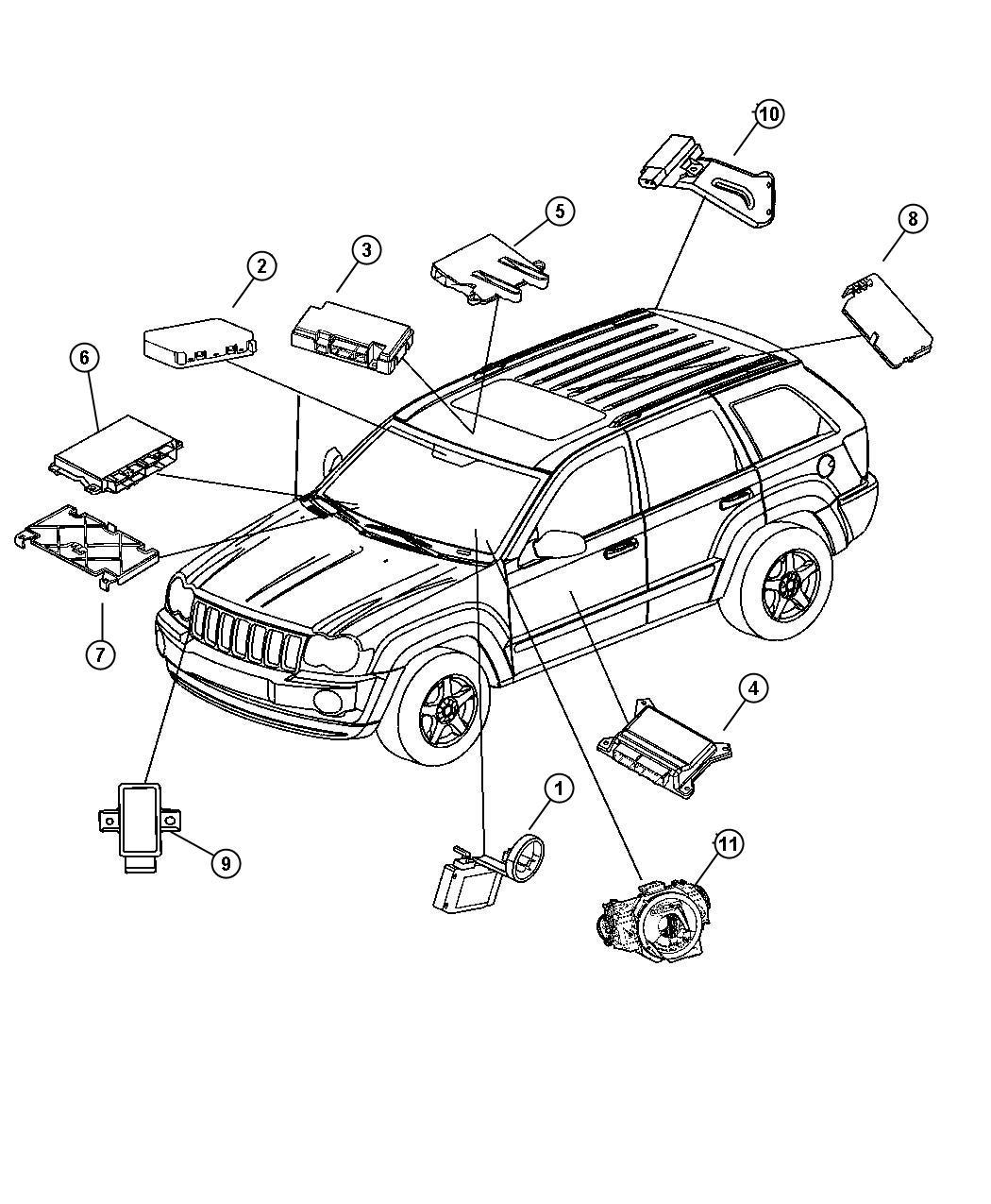 2005 Jeep Grand Cherokee Module. Steering control