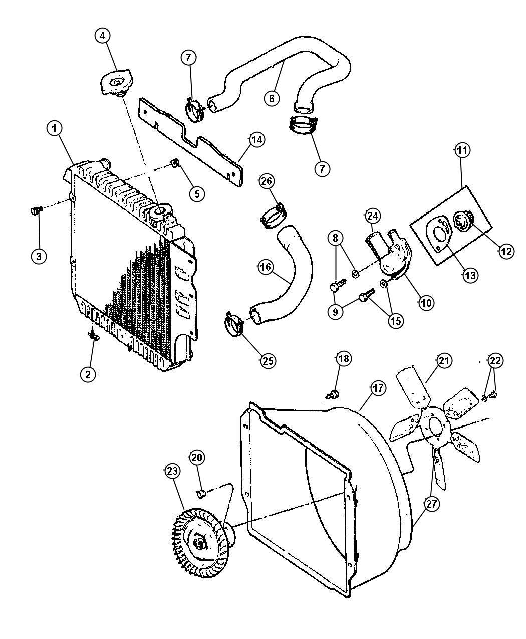 2005 Jeep Wrangler Hose. Radiator. Upper. Cooling