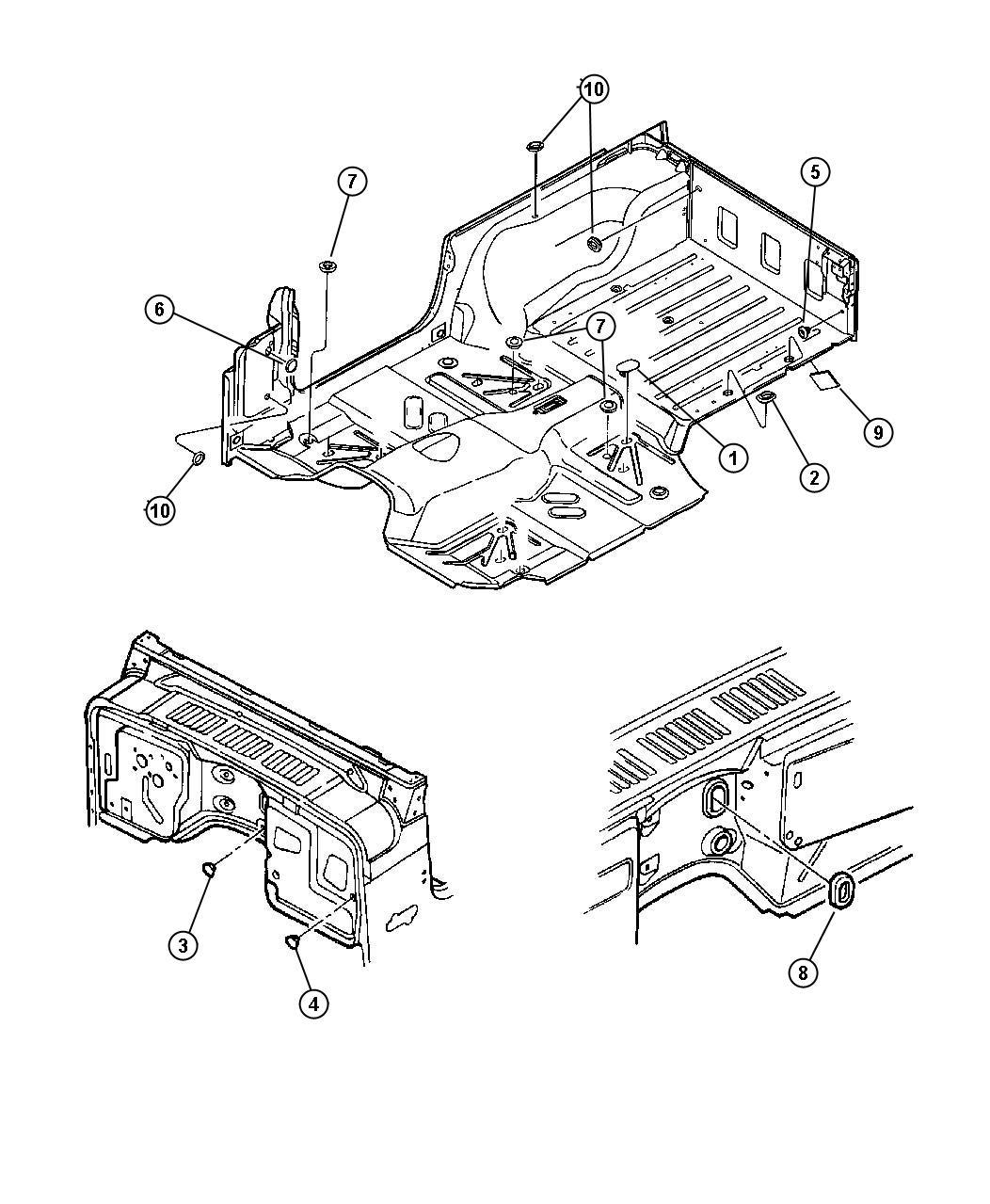 Jeep Wrangler Plug. Floor pan. Rubber. Liftgate, plugs