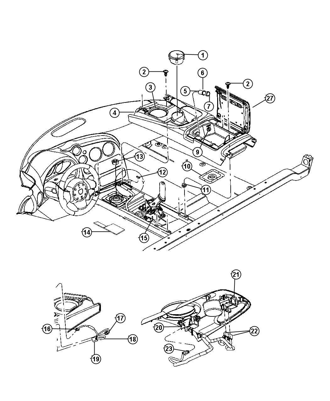 Dodge Viper Boot Parking Brake Lever Trim All Trim