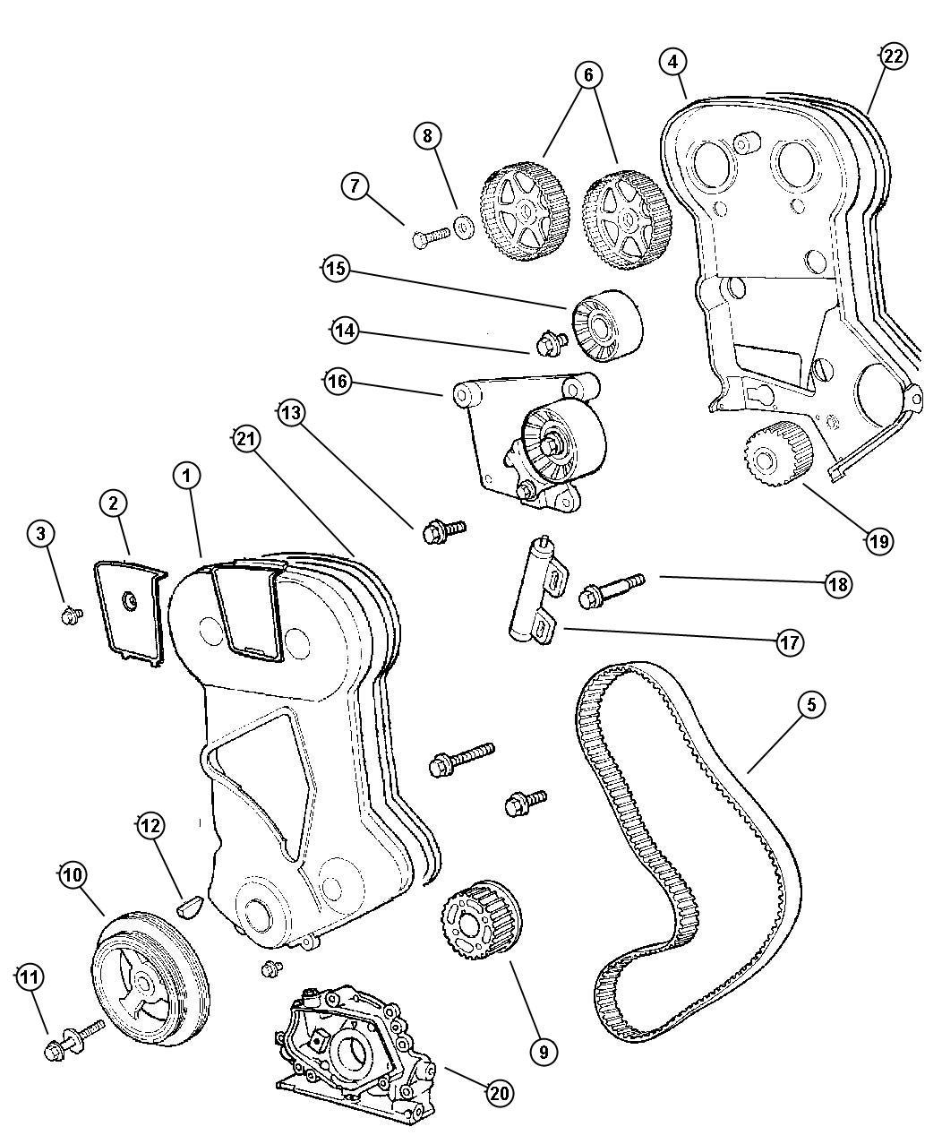 Dodge Avenger Pulley. Timing belt. Cover, emissions, dohc