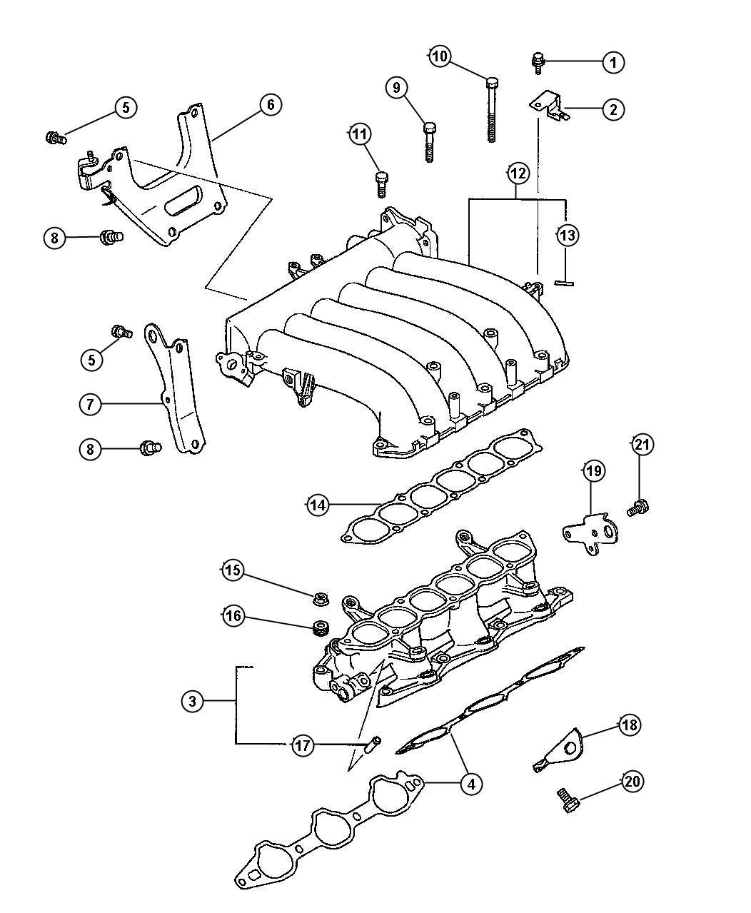 Chrysler Sebring Fitting. Vacuum. Manifold, intake, engine