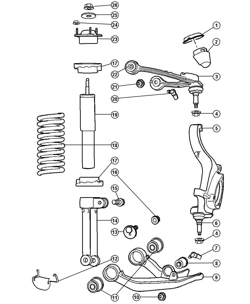 Chrysler Pt Cruiser Bushing Control Arm Upper Front