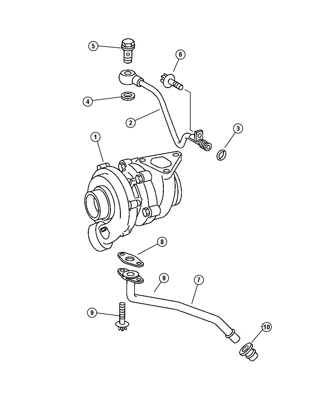 Chrysler PT Cruiser Gasket. Turbo oil return pipe. Feed