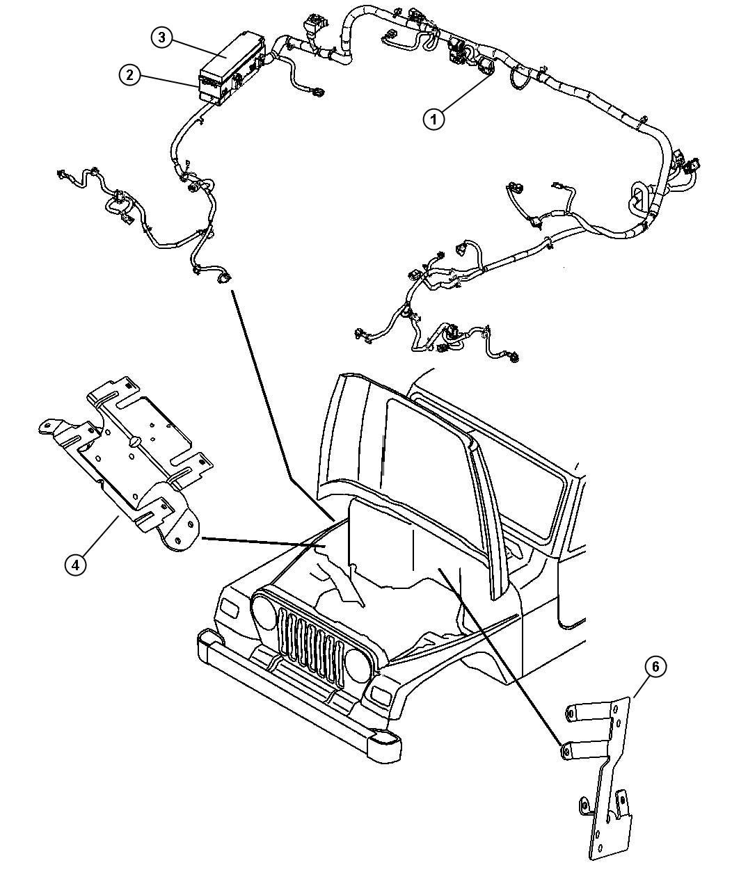 2003 Jeep Wrangler Bracket. Wiring harness. Side cowl