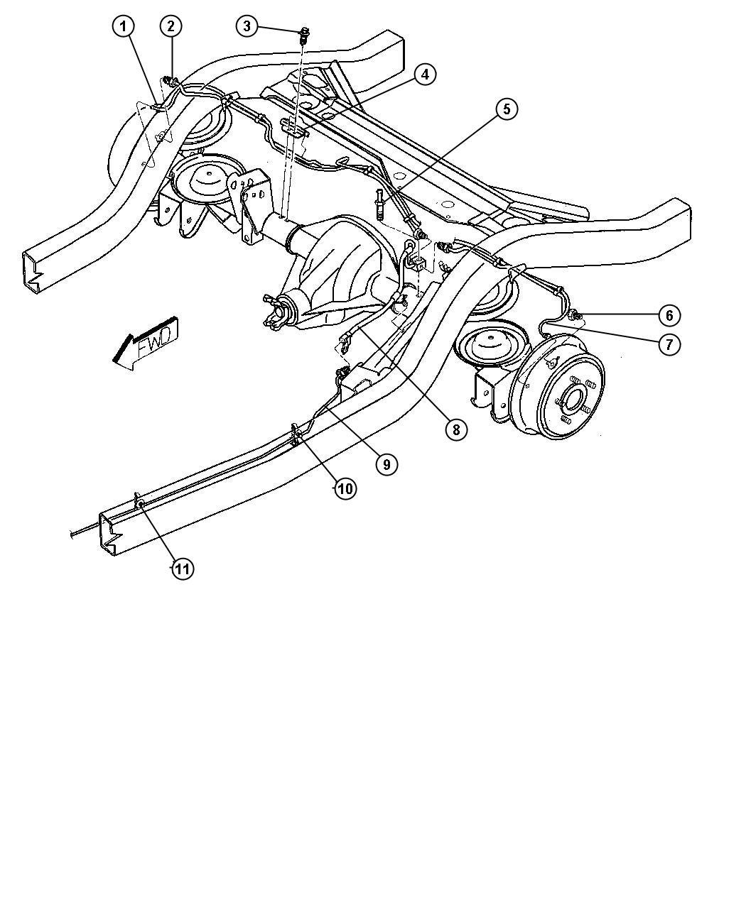Jeep Wrangler Tube Brake Right Dana M35 194mm