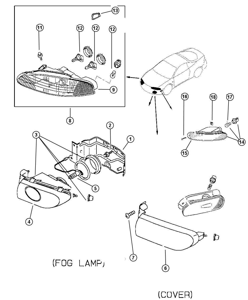 1998 Dodge Avenger Lamp. Fog. Left. Avenger (lamp only