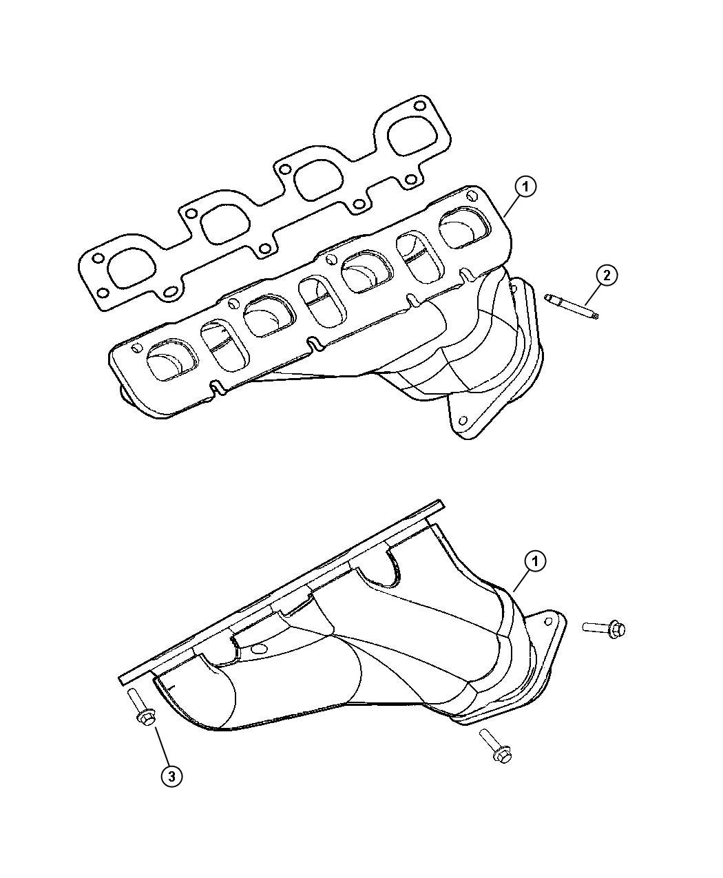 Dodge Grand Caravan Manifold. Exhaust. Right, right side
