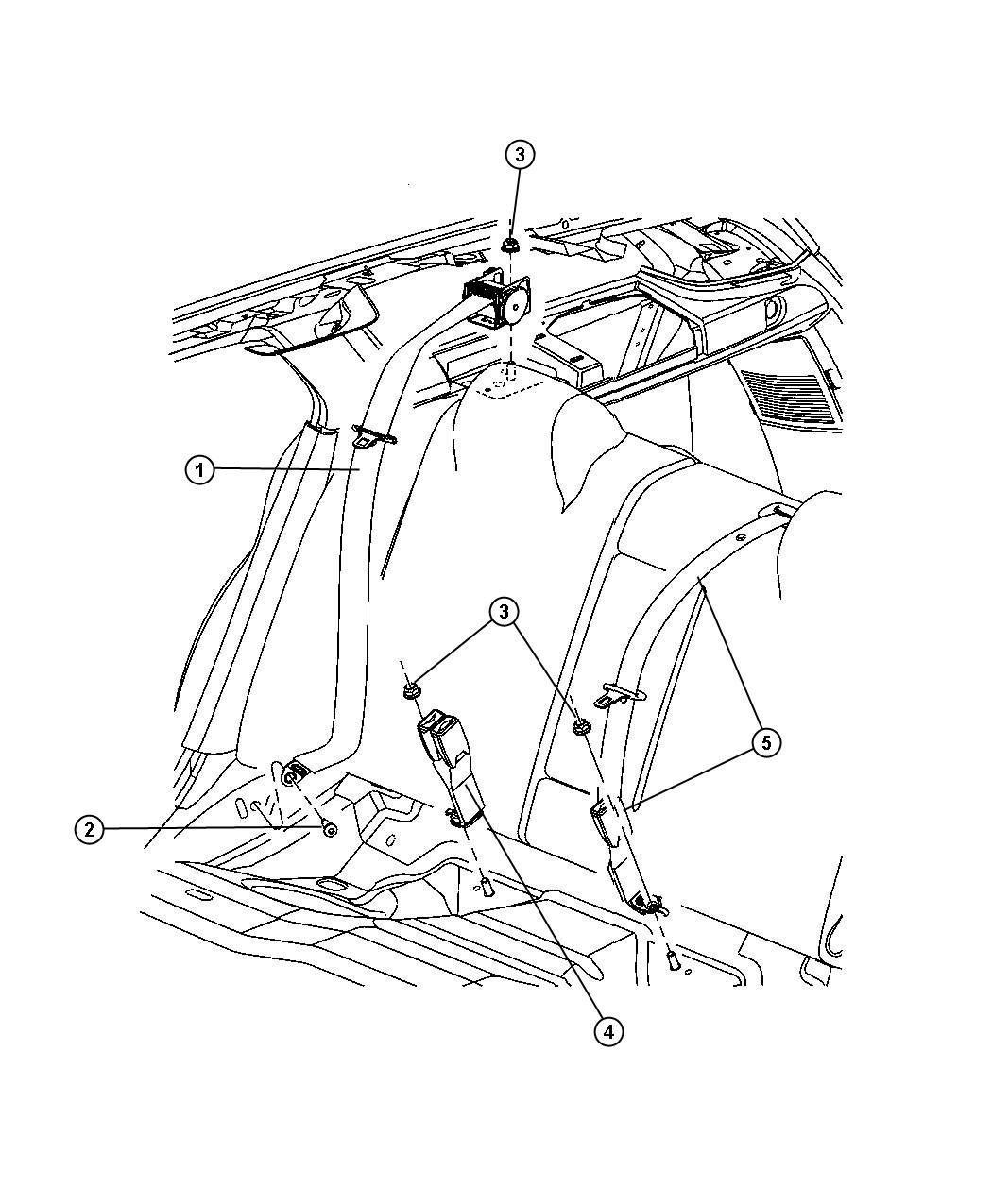 2006 Dodge Magnum Seat belt. Rear outer. [d1], [dv], [j1