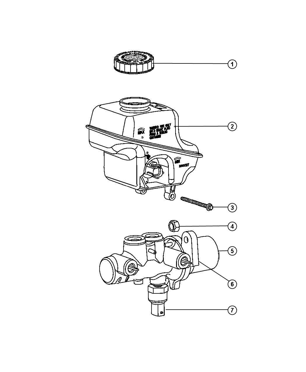 Chrysler 300 Reservoir Brake Master Cylinder With