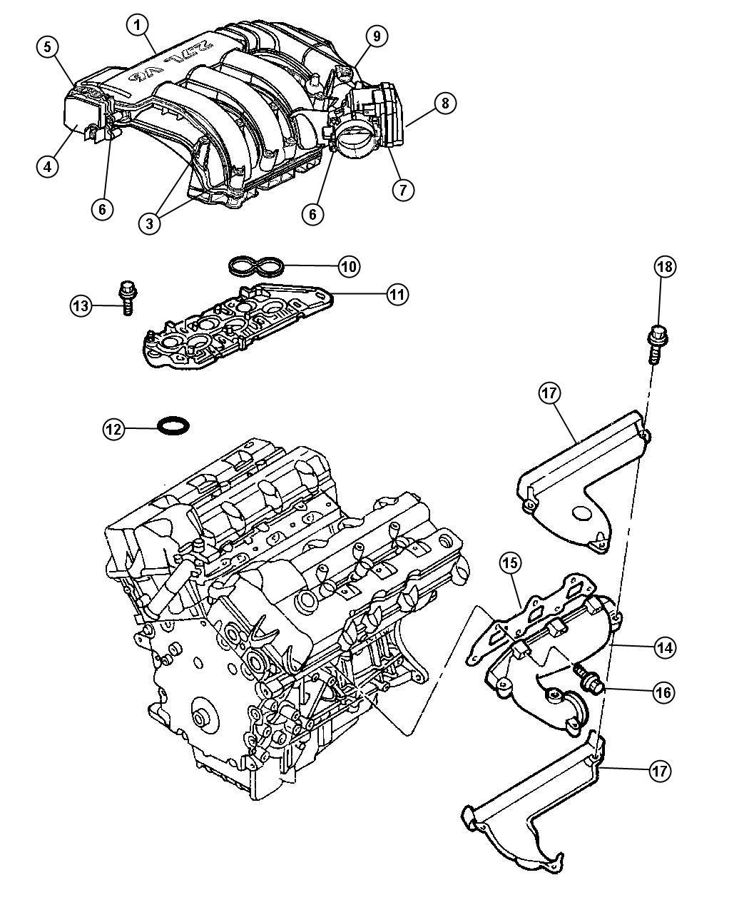 2006 Dodge Charger Plenum. Intake manifold. Engine