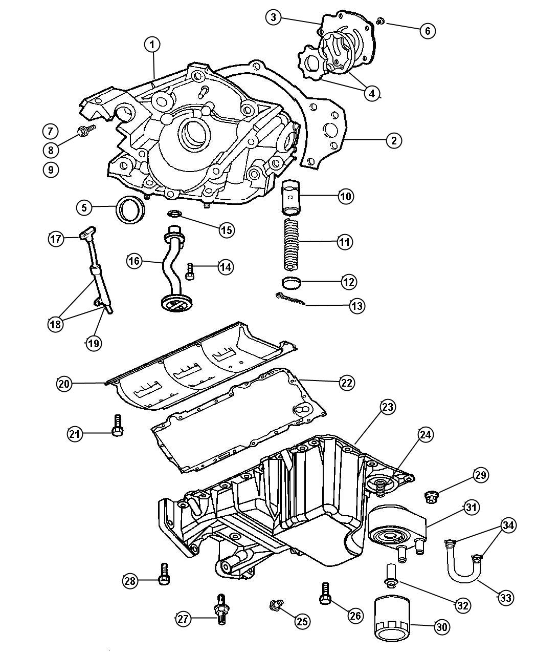 2007 Chrysler 300 Pan. Oil. [dgj] rear wheel drive. Engine
