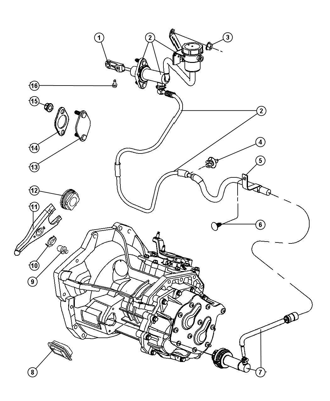 2004 Dodge Neon Cylinder. Clutch master. Transmission