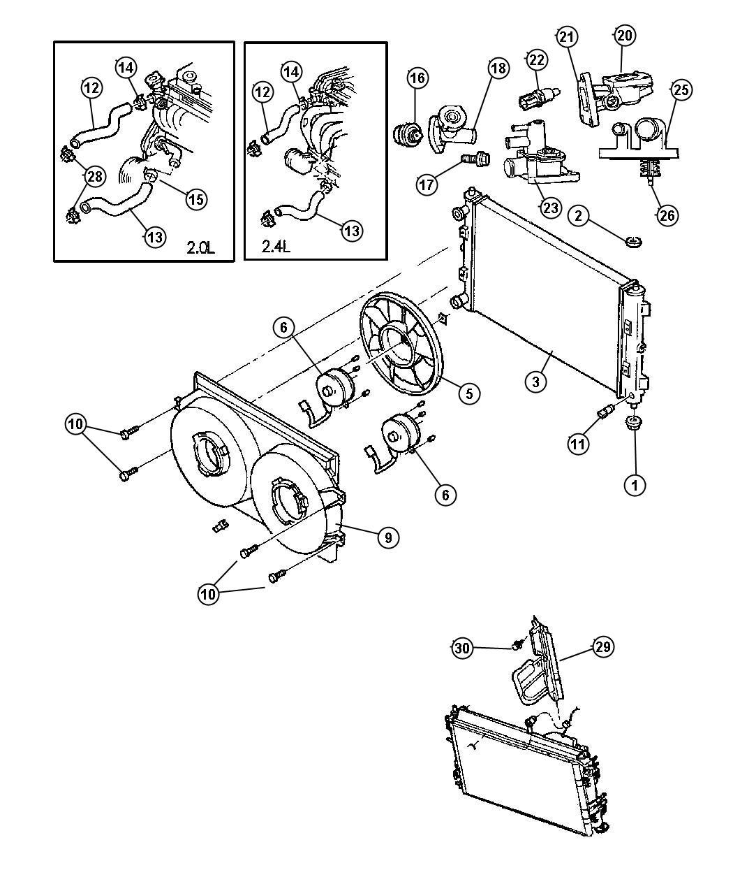 Chrysler Sebring Hose. Radiator outlet. Engine, dohc, smpi