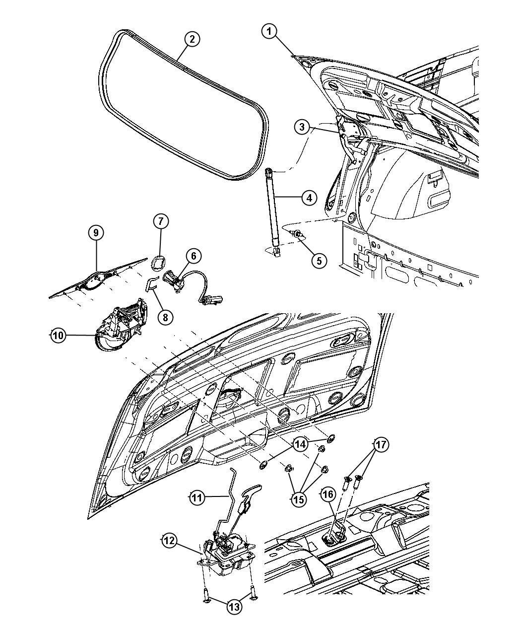Chrysler PT Cruiser Gasket. Door lock cylinder. Black