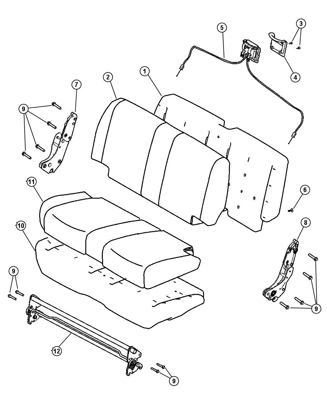 Jeep Wrangler Cable Rear Seat Release Trim Seats