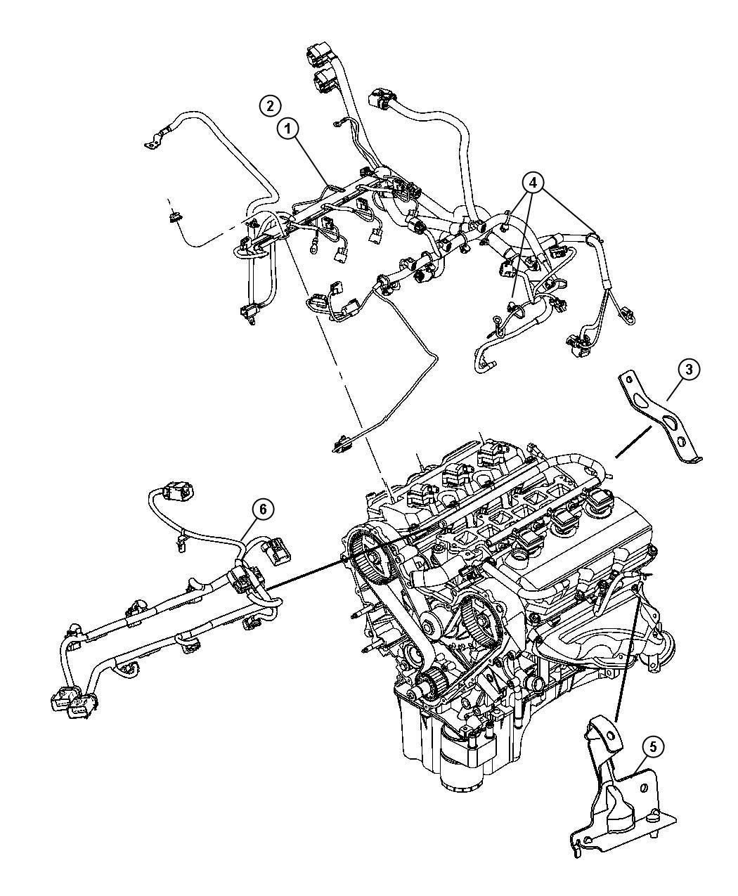 Dodge NITRO Bracket. Engine wiring. After 06/07/04