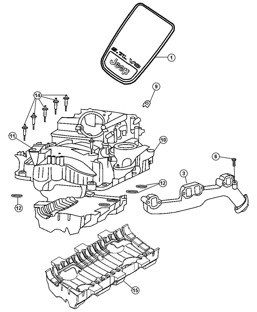 Jeep Grand Cherokee Manifold Exhaust Right Hemi Engine