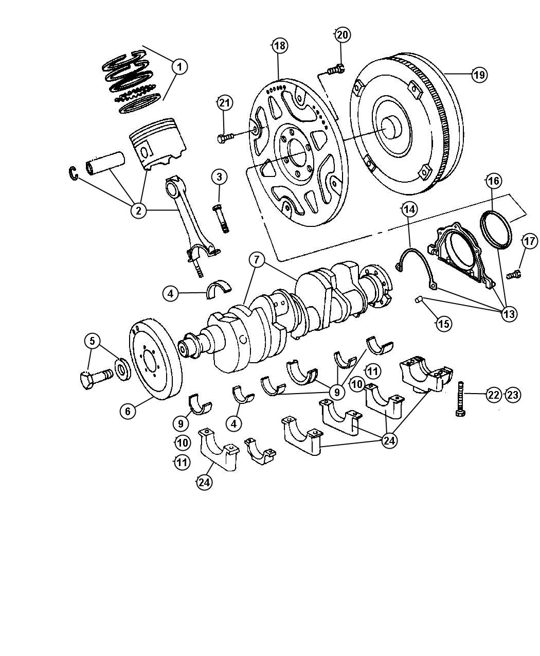 Jeep Grand Cherokee Used for: PISTON PIN AND ROD. STD