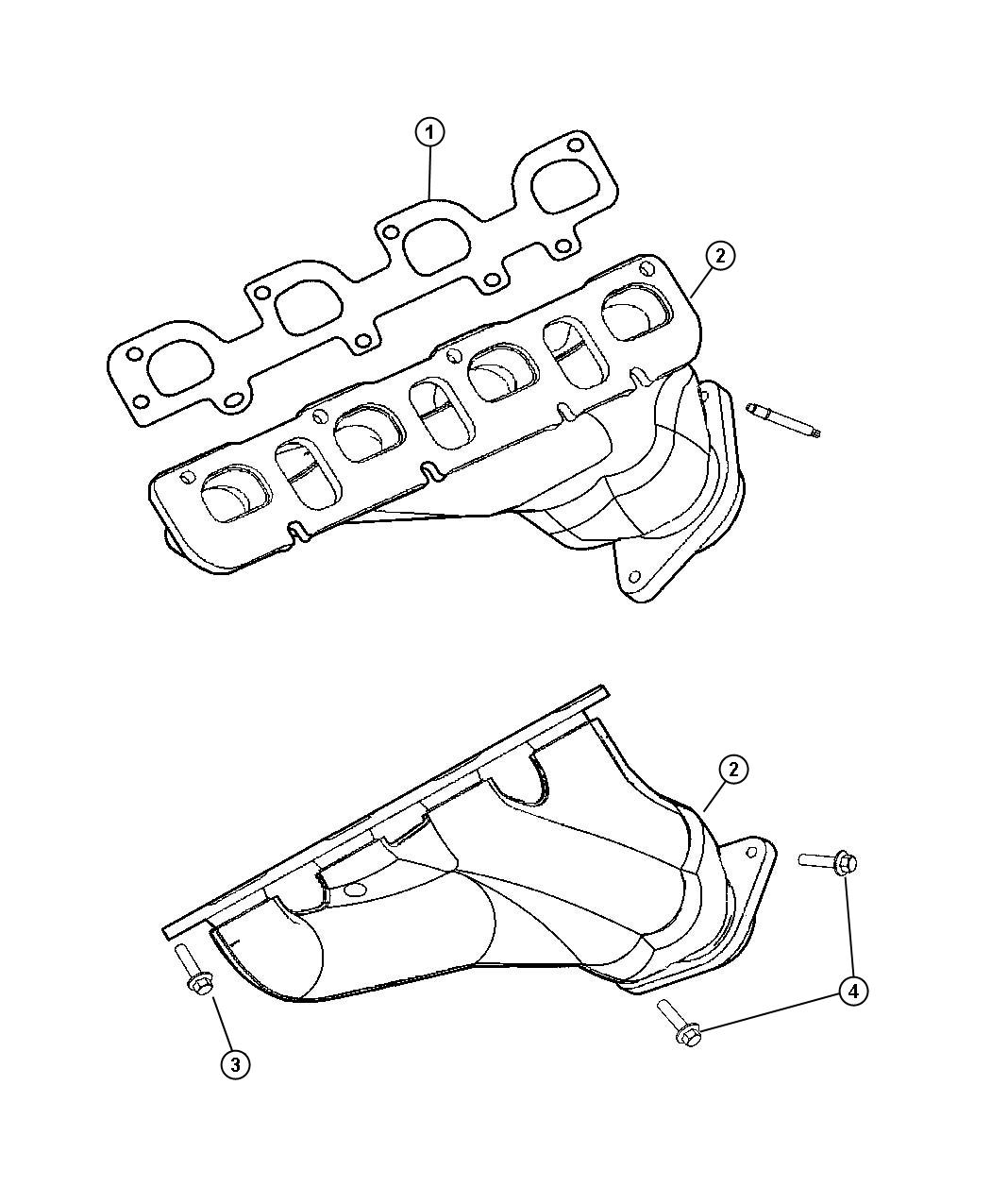 Jeep Grand Cherokee Gasket. Exhaust manifold. Mounting