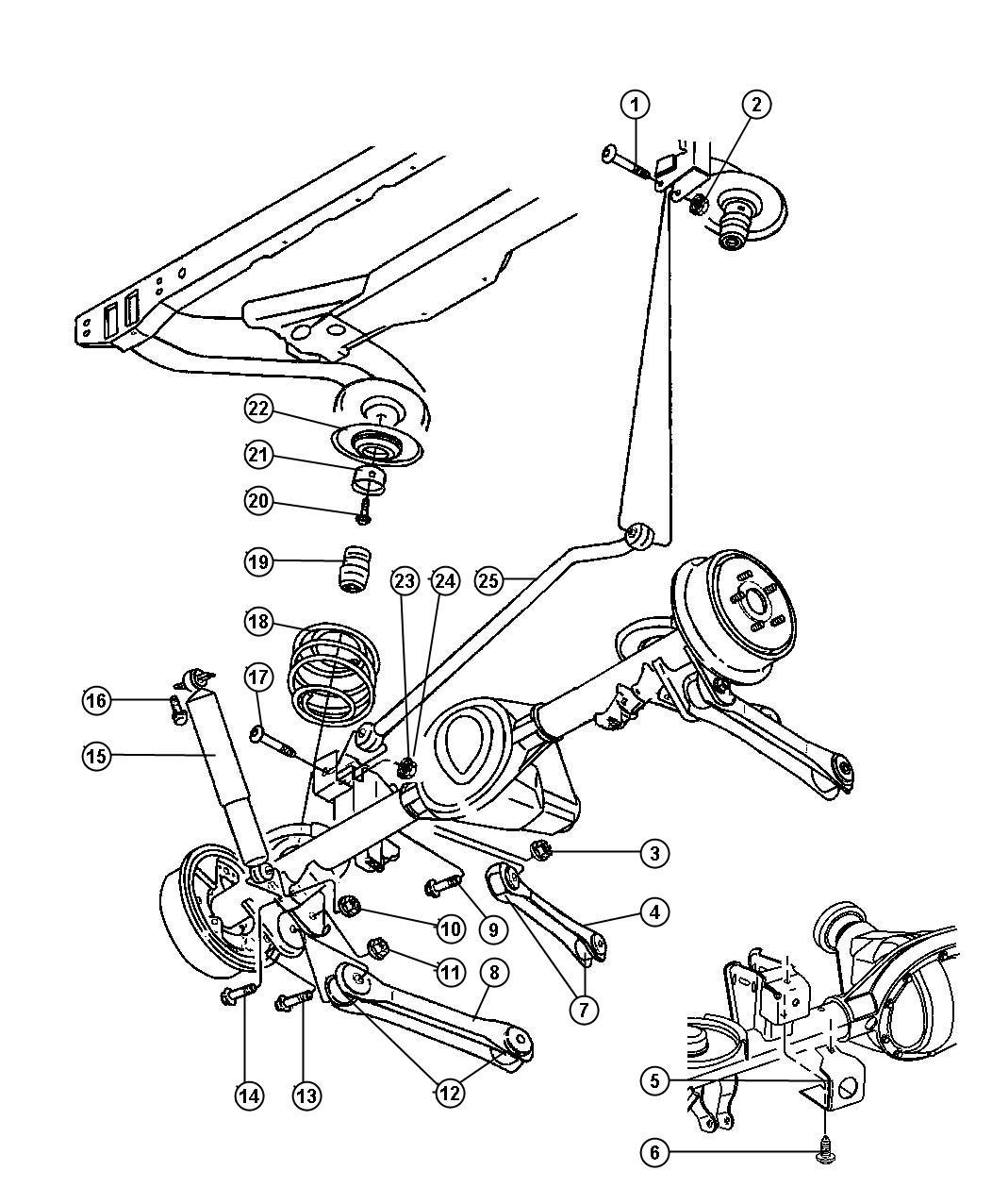 2006 Jeep Wrangler Shock absorber. Suspension. Rear