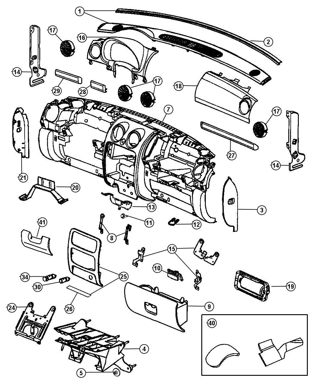 Dodge Dart Glove box. Instrument panel. [d5, db], [d5