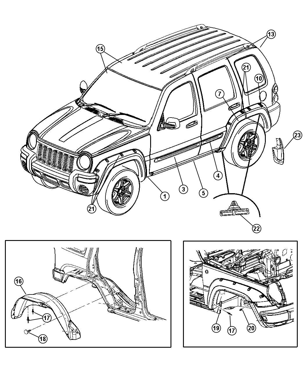 Jeep Liberty Molding. Left, lower left. Front door. [k1e