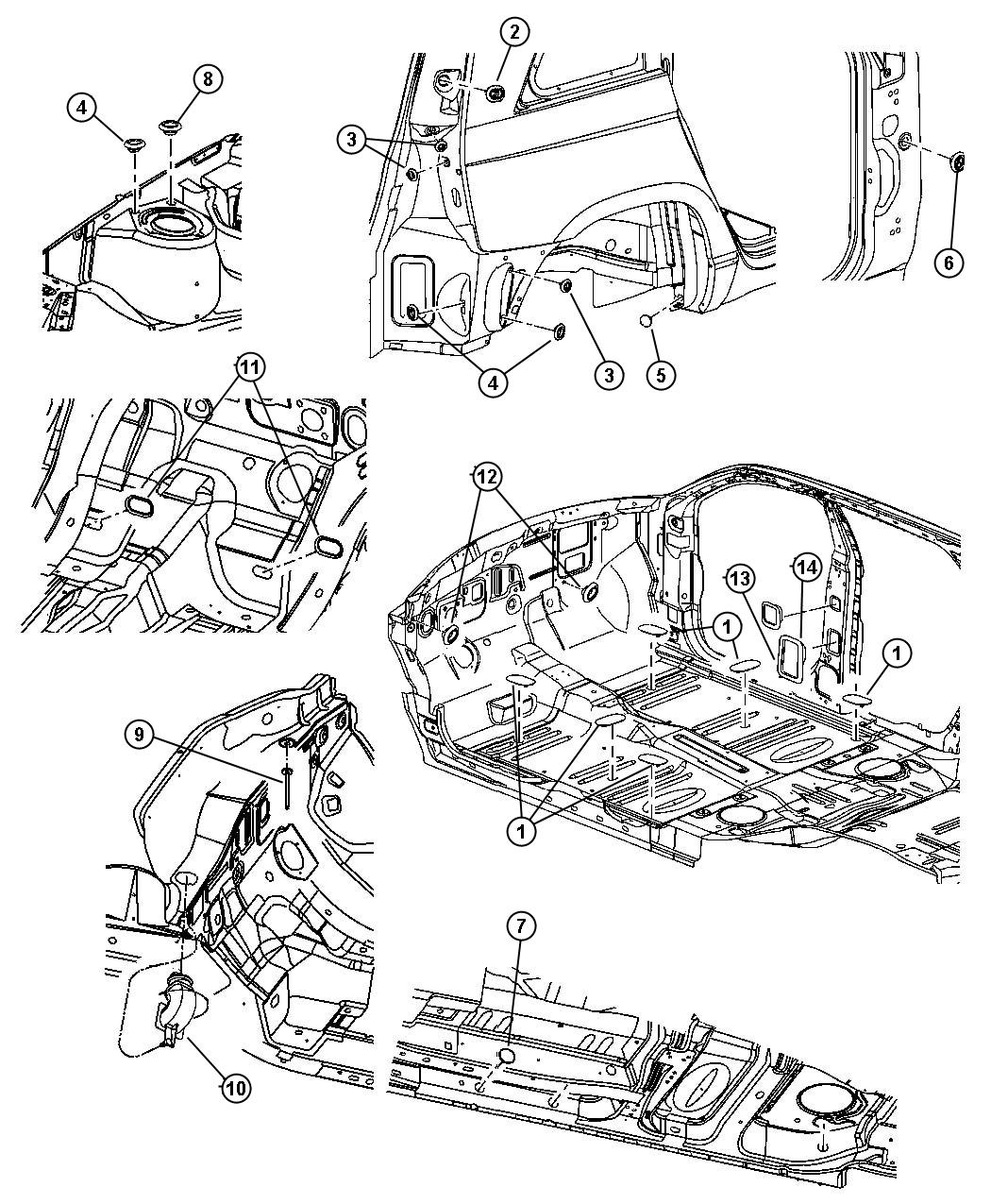 2006 Chrysler Pacifica Seal. Cowl. Lower drain. Dash