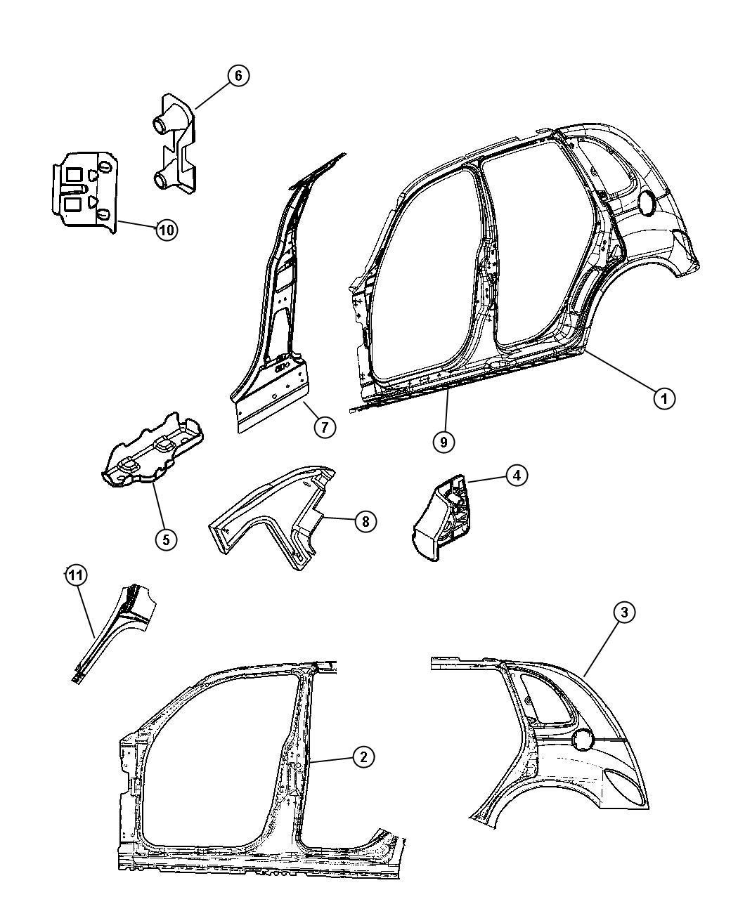 2005 Chrysler PT Cruiser Reinforcement. Front hinge pillar