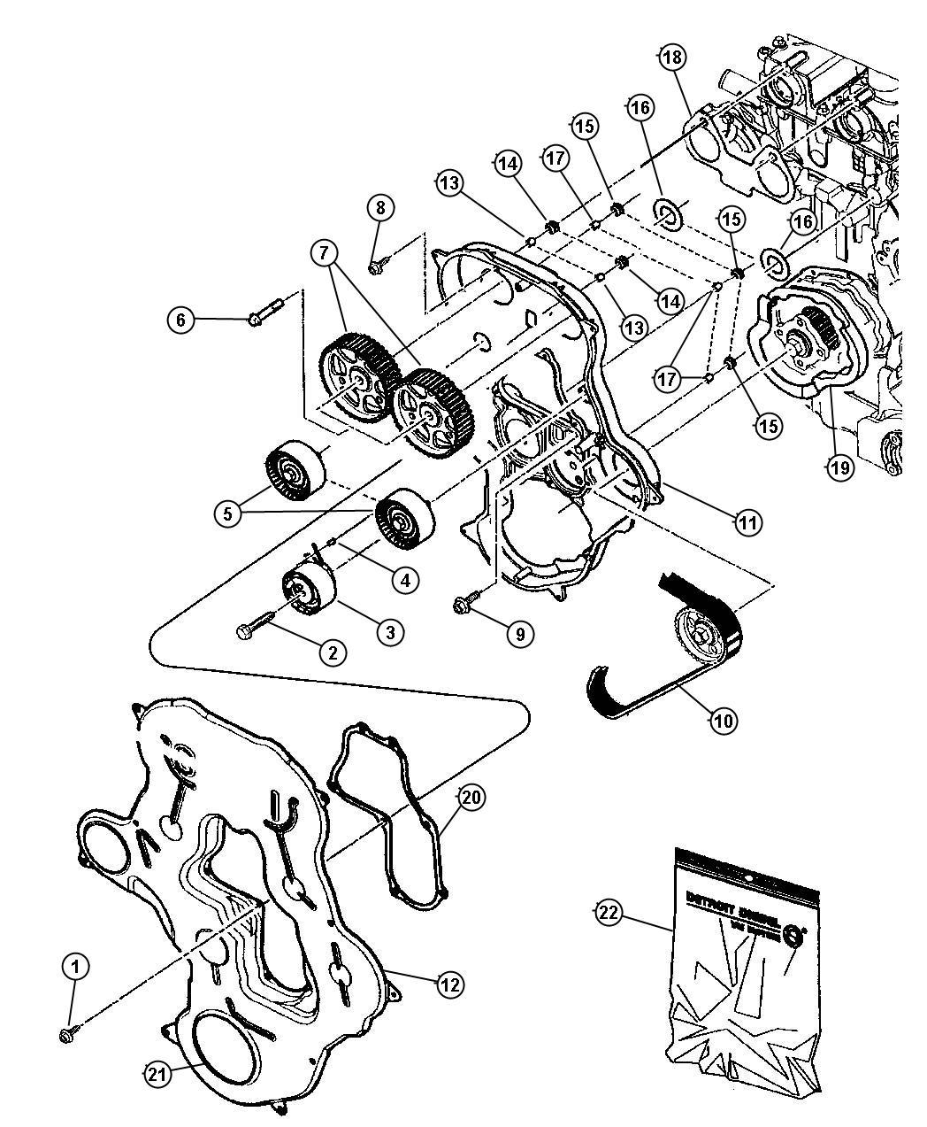 2007 Jeep Compass Gear. Balance shaft. Engine, belt, cover