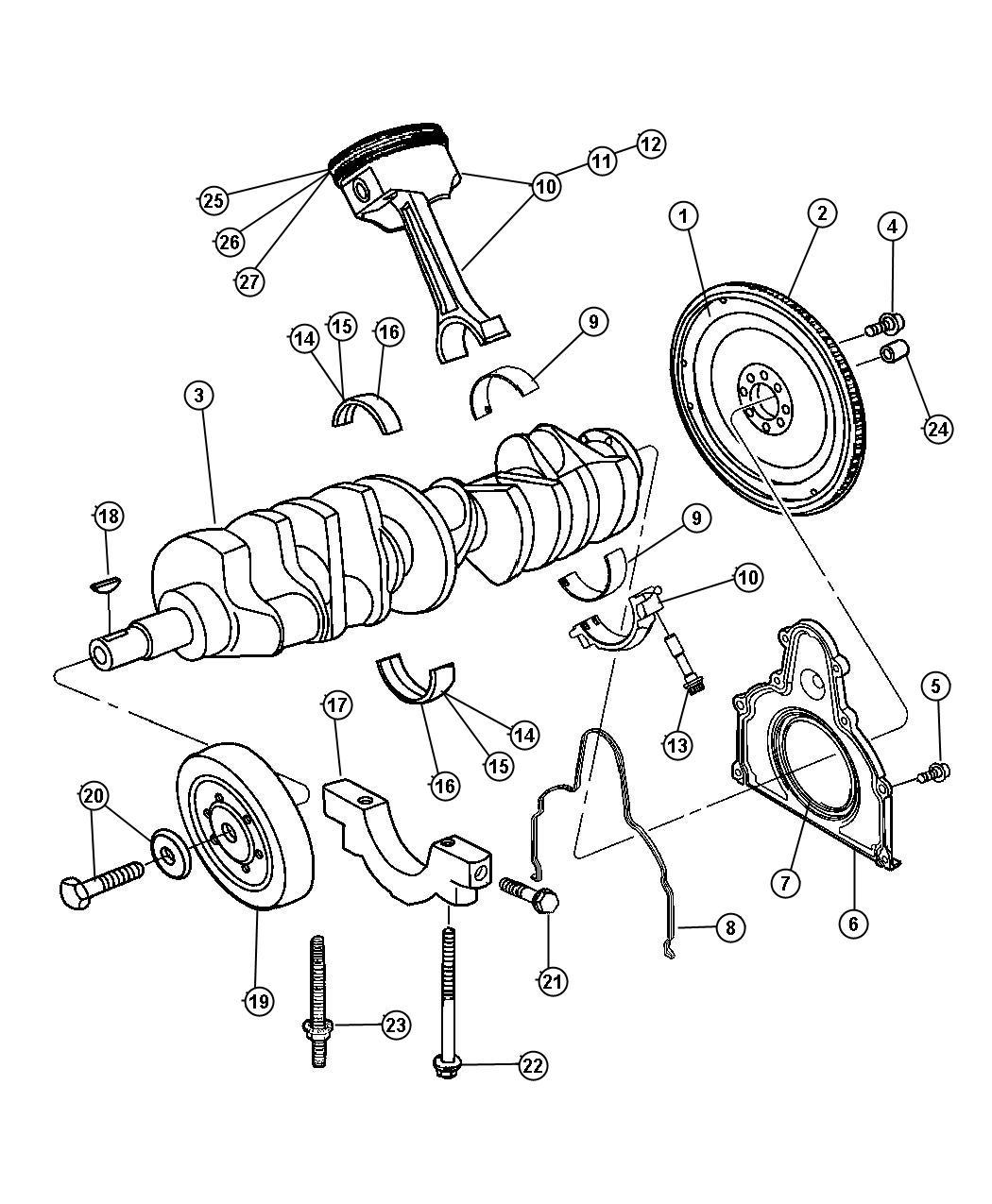 Dodge Viper Brg pkg. Crankshaft. [#1, 2, 4, 5, 6] magenta