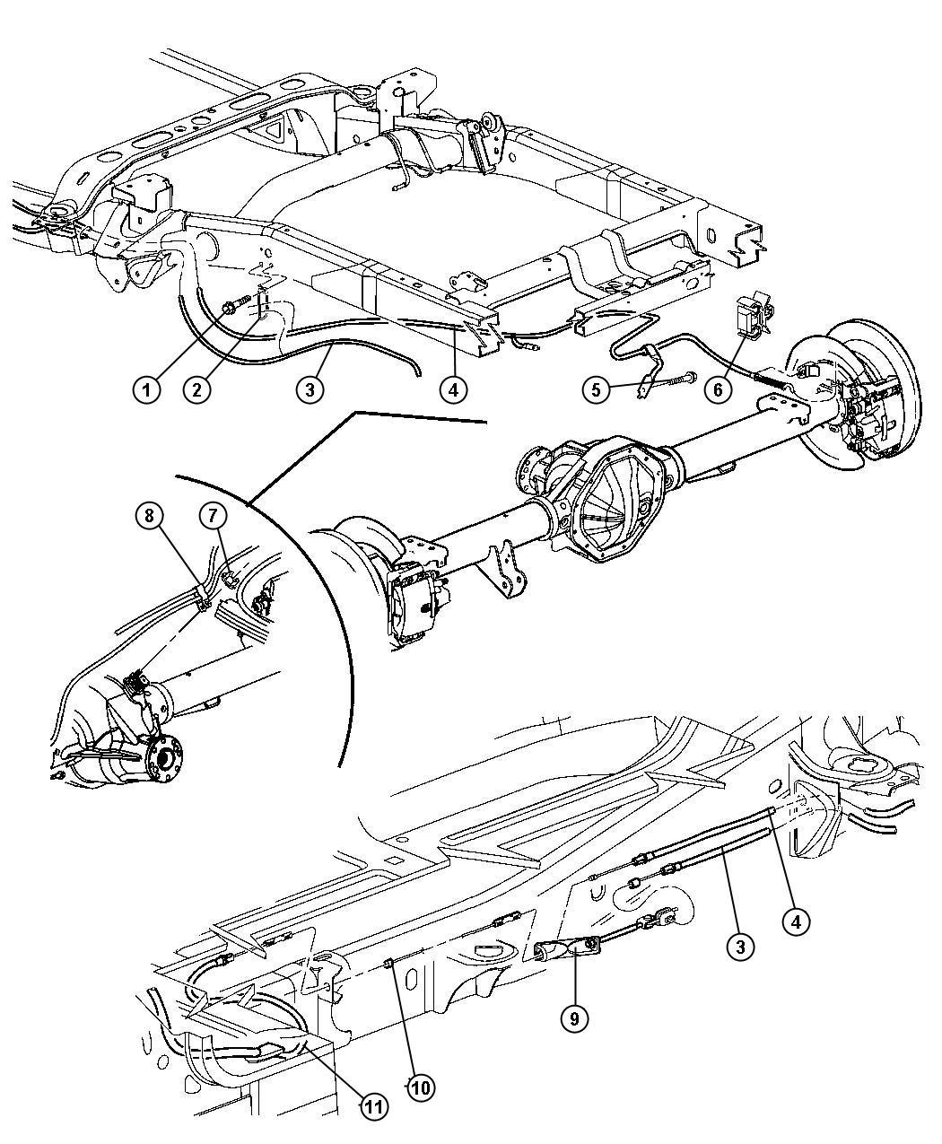 2009 Dodge Ram 3500 Cable. Parking brake extension. Cables