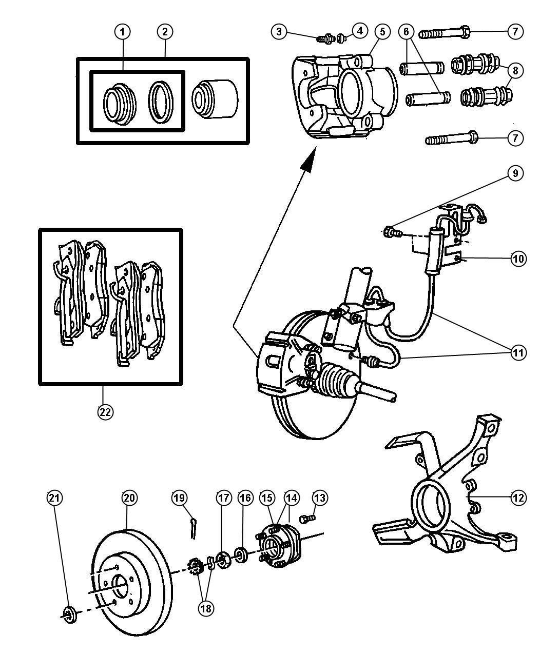1999 Dodge Grand Caravan Pad kit. Front disc brake. Mopar