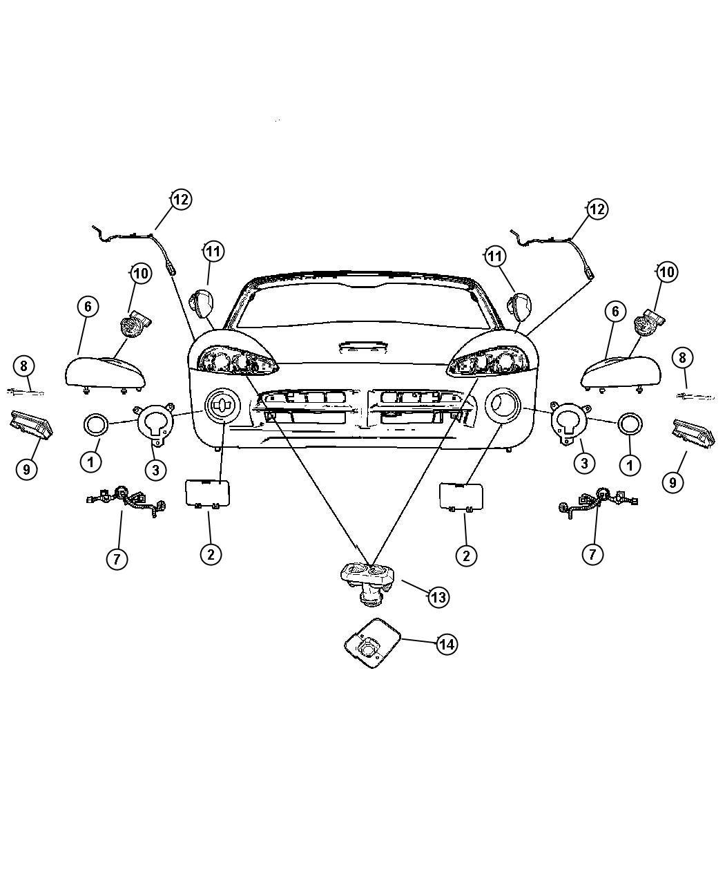 Dodge Viper Cover Headlamp Left Export Headlamp
