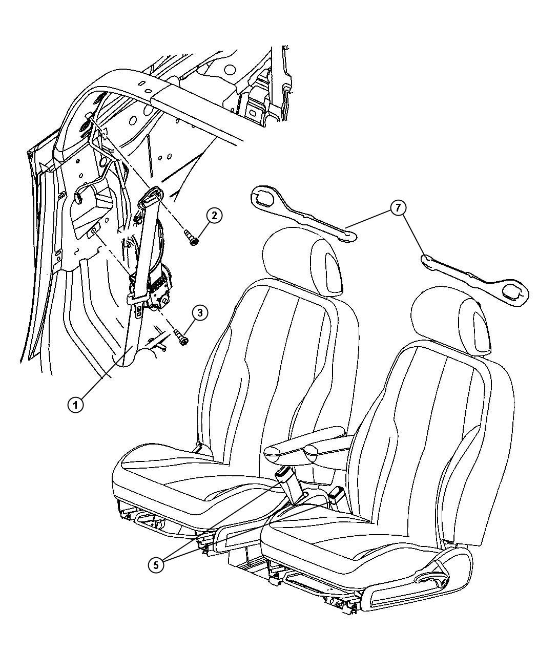 Chrysler PT Cruiser Seat belt. Front outer. [da]. Trim