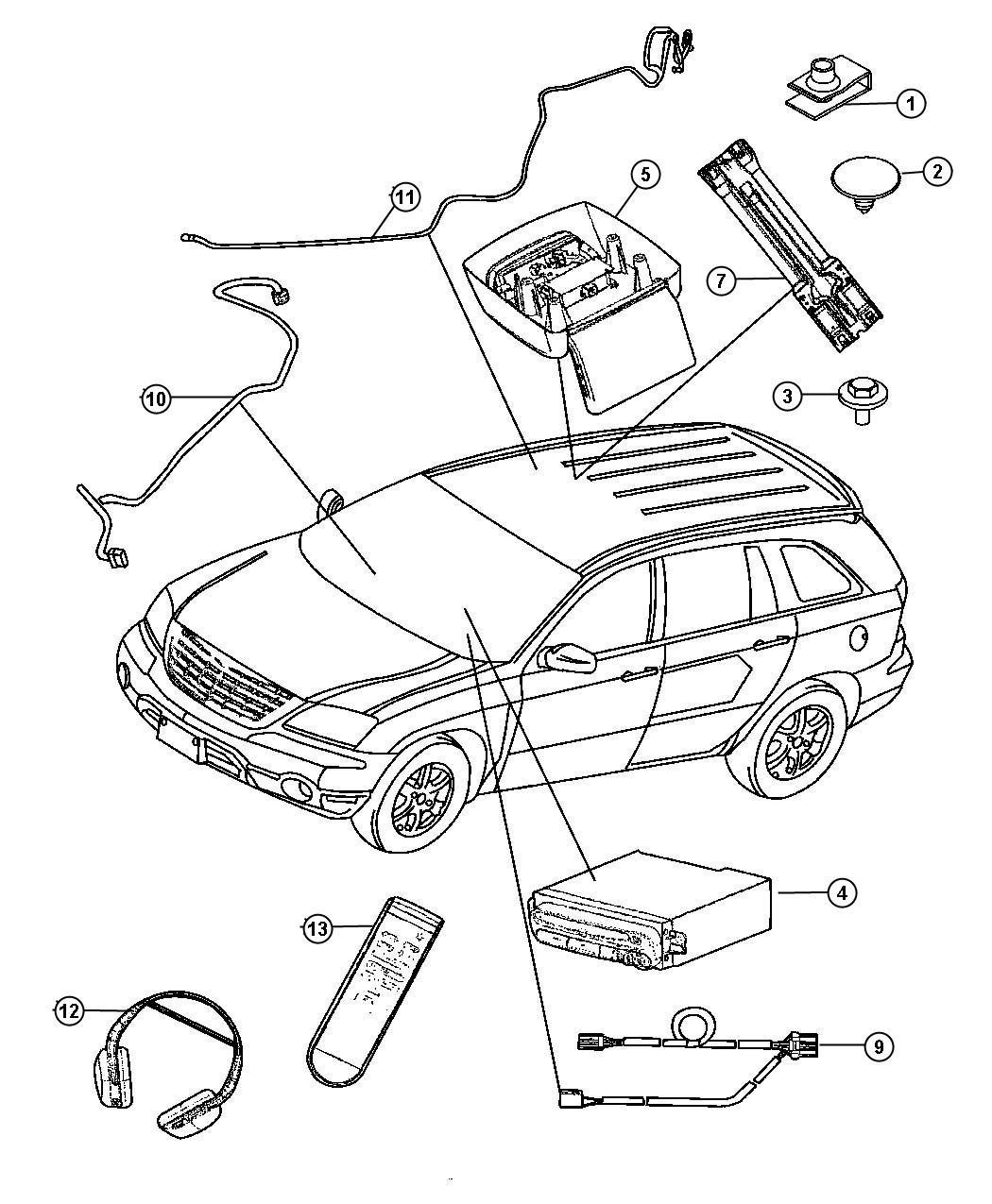 2006 Chrysler Pacifica Latch kit. Video screen. W/ dvd w