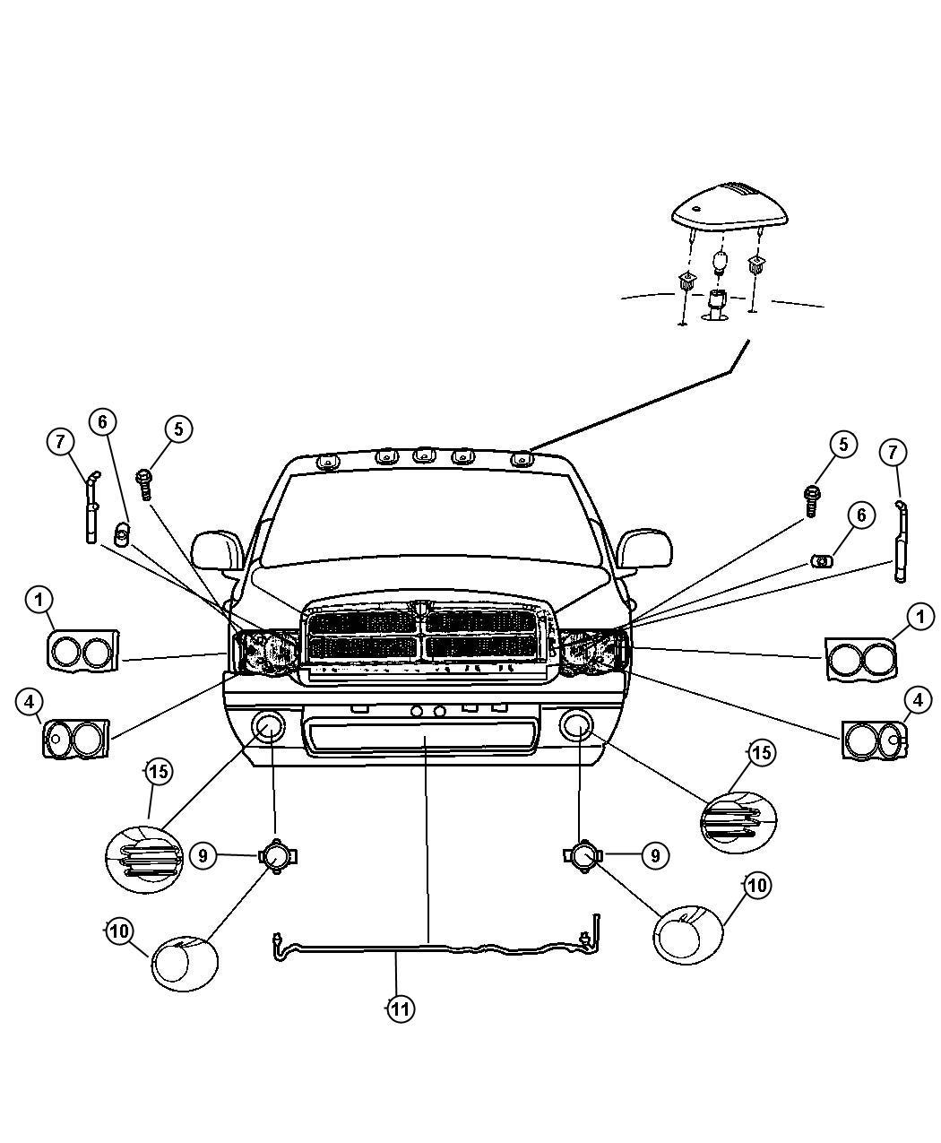 2006 Dodge Ram 2500 Lamp. Right. Headlamp park and turn