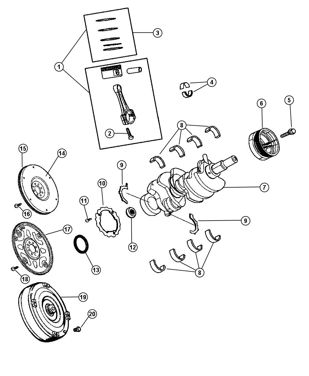 Dodge Dakota Bolt. Connecting rod. Mounting. Connecting