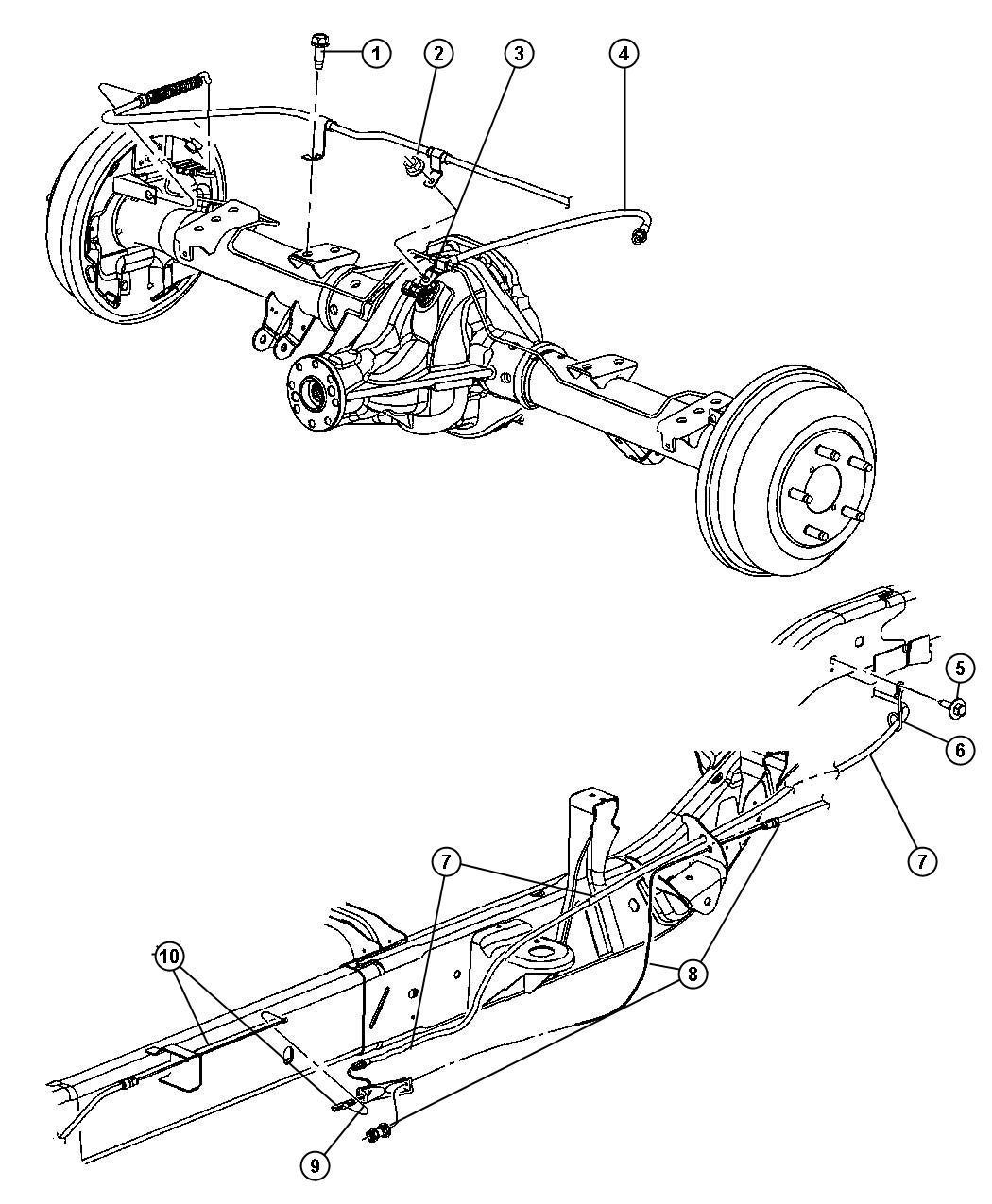 2008 Dodge Dakota Cable. Front. Parking brake. With