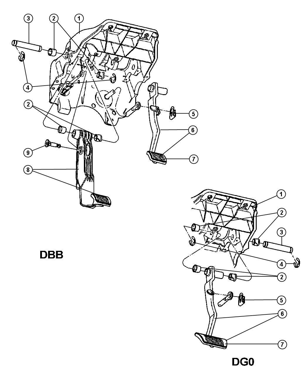 Dodge Ram 1500 Shaft. Brake pedal pivot, pedal pivot