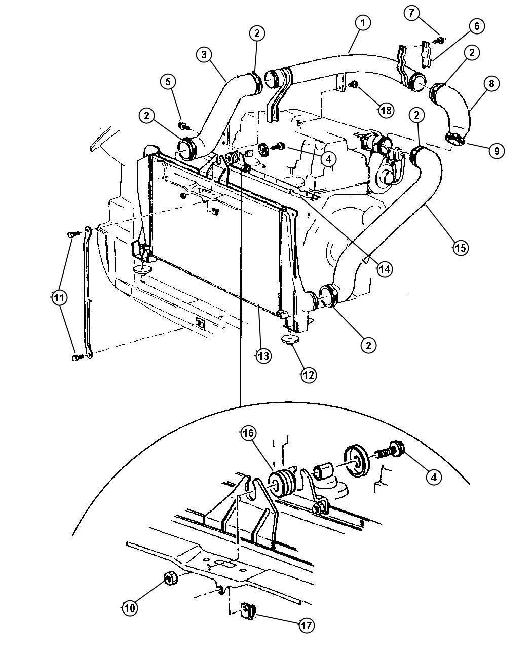 Chrysler Voyager Isolator Radiator Lower Acid