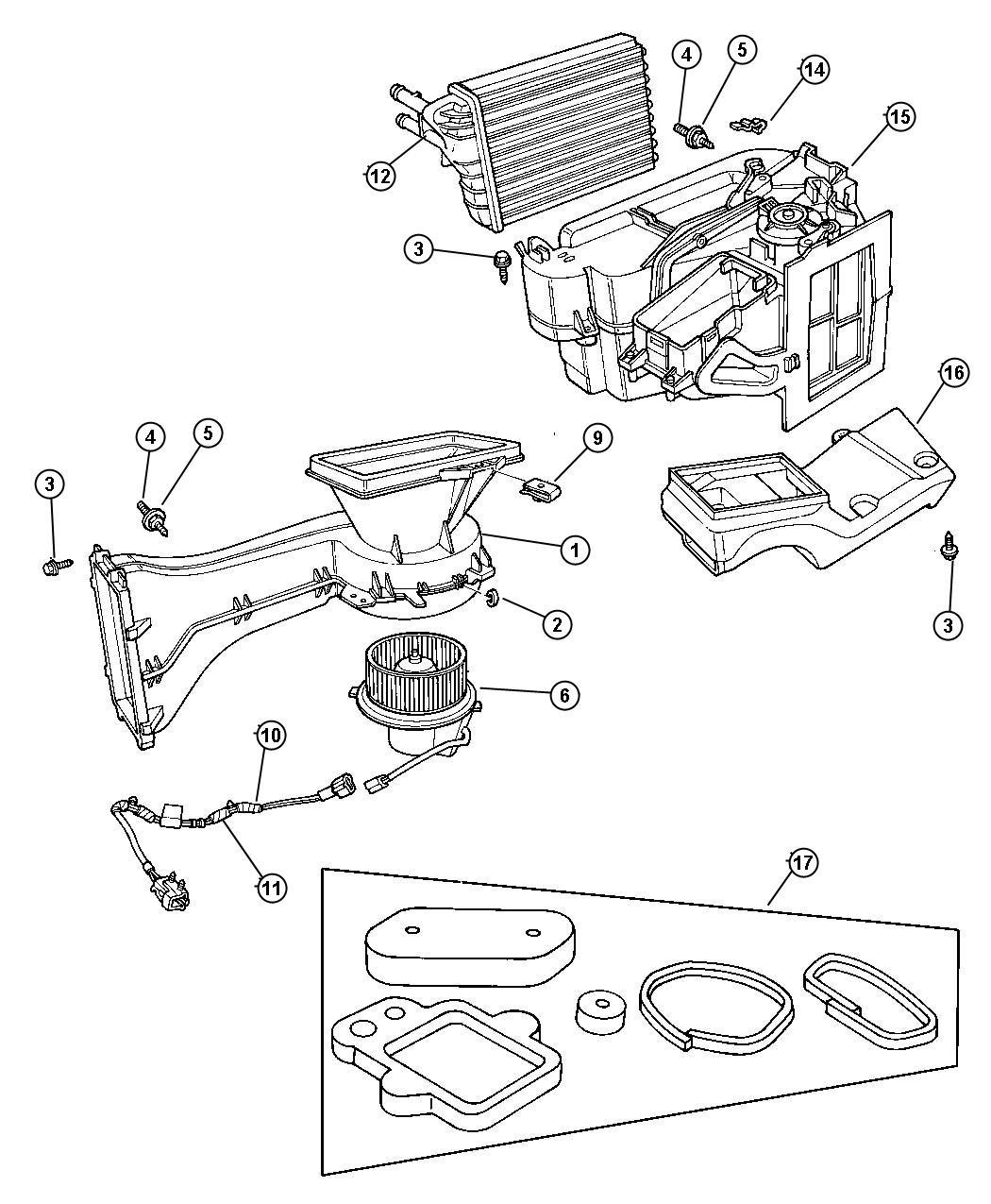 1997 Dodge Neon Motor package. Heater blower. Air