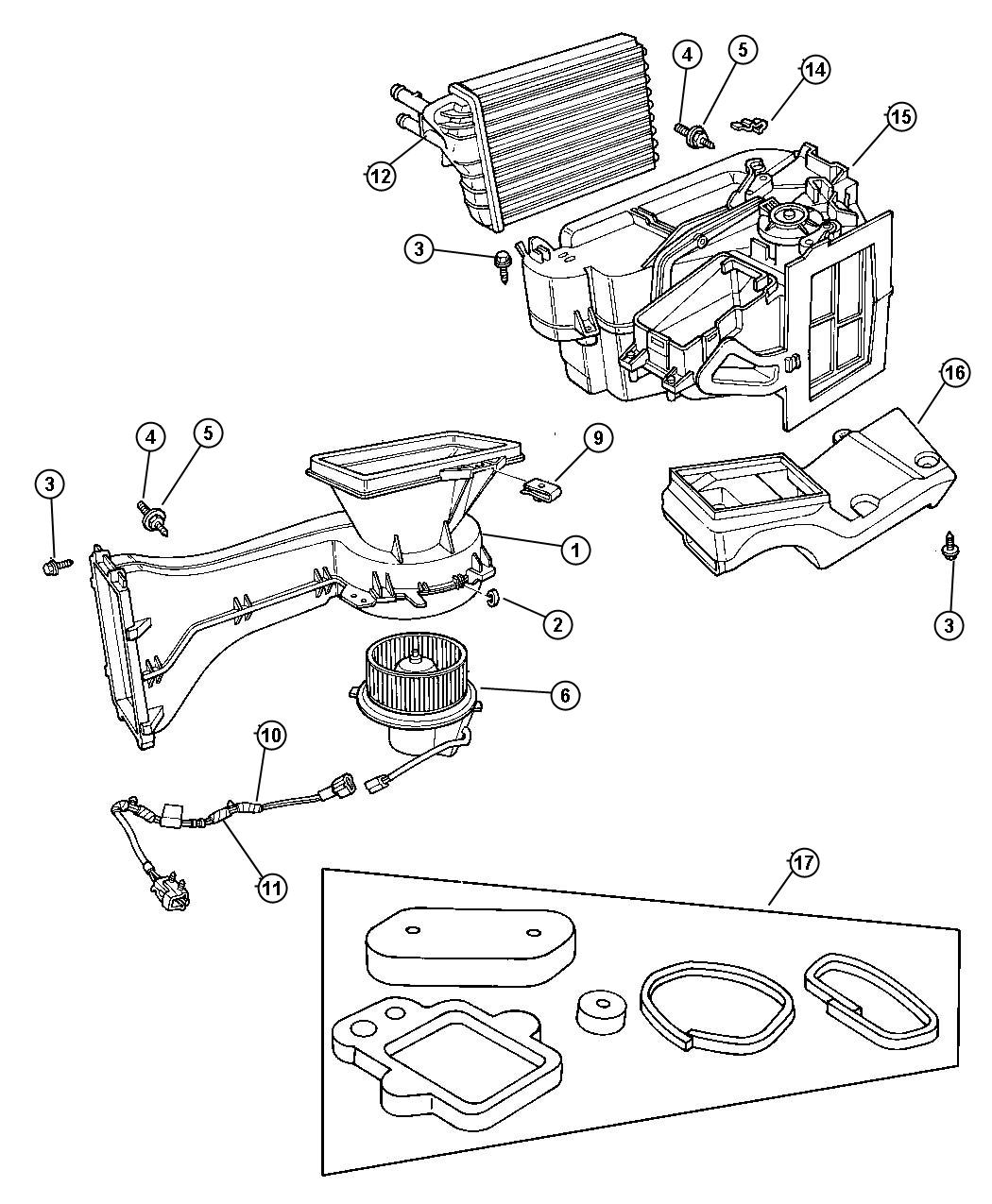 1998 Dodge Neon Motor package. Heater blower. Air