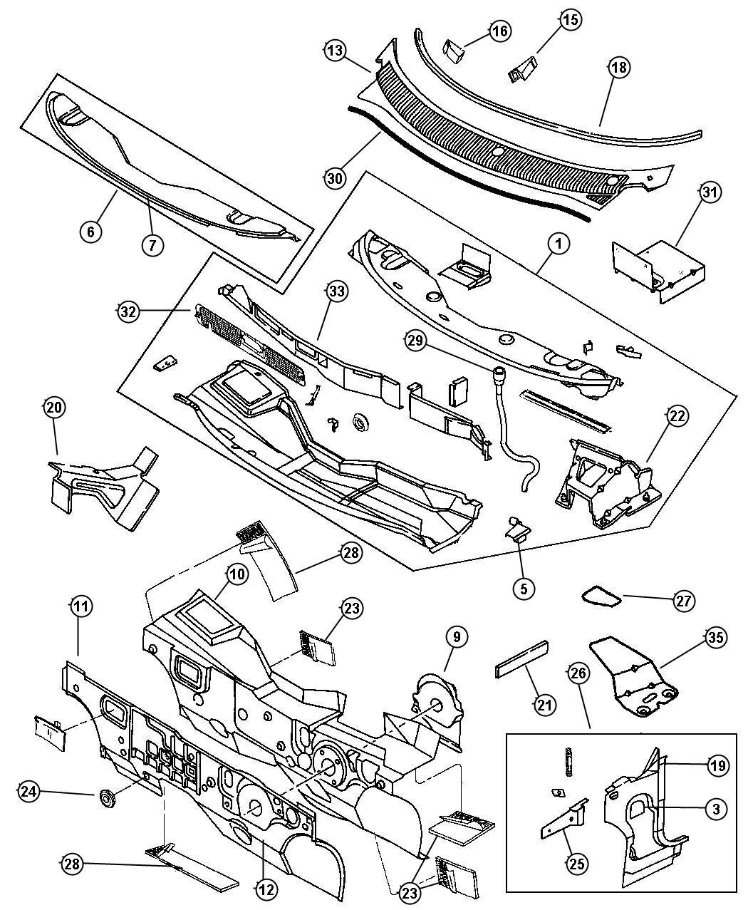 1995 Dodge Neon Damper. Cowl plenum. Panel, dash, body