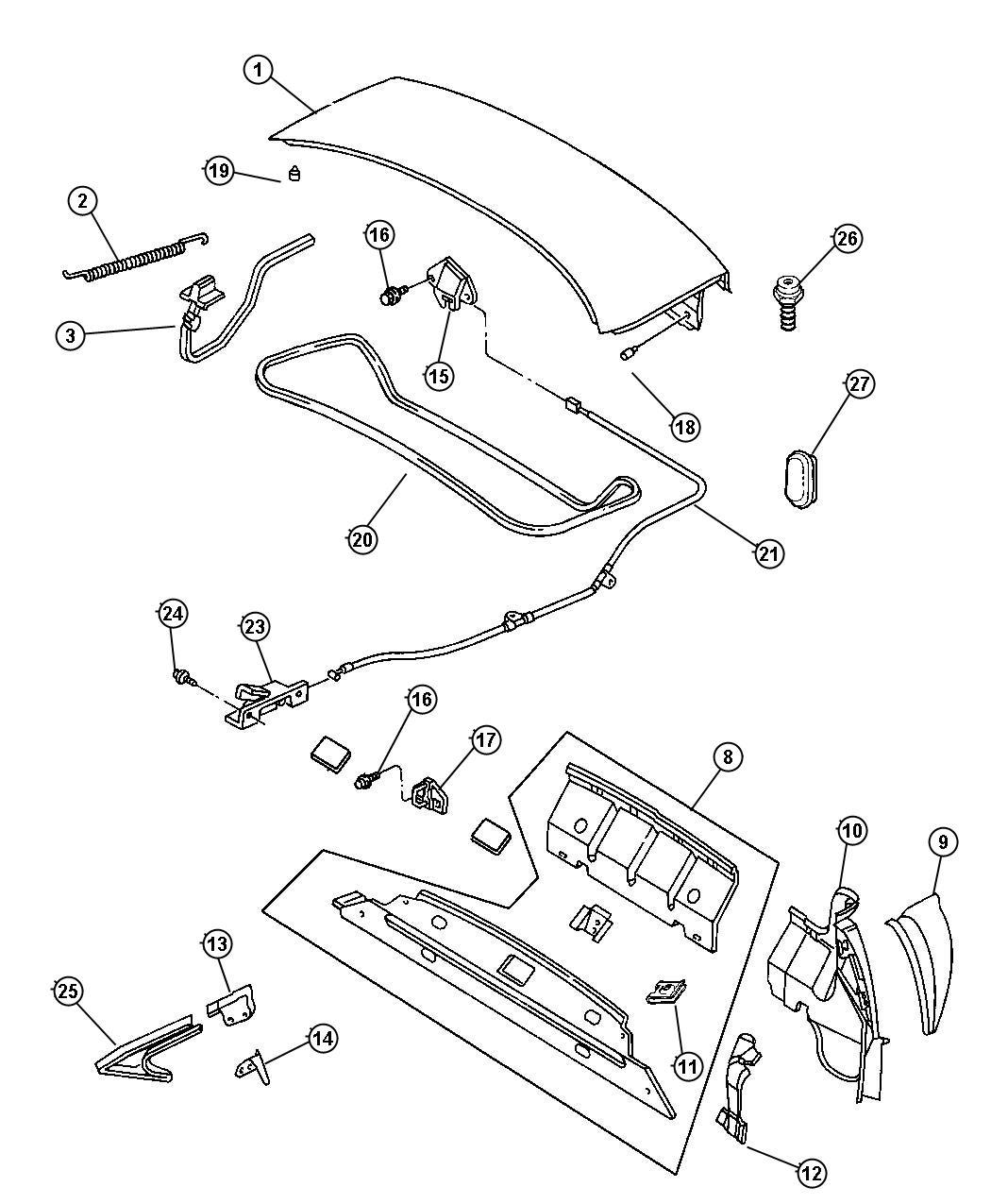 Chrysler 200 Bumper Adjustable Stop Deck Lid