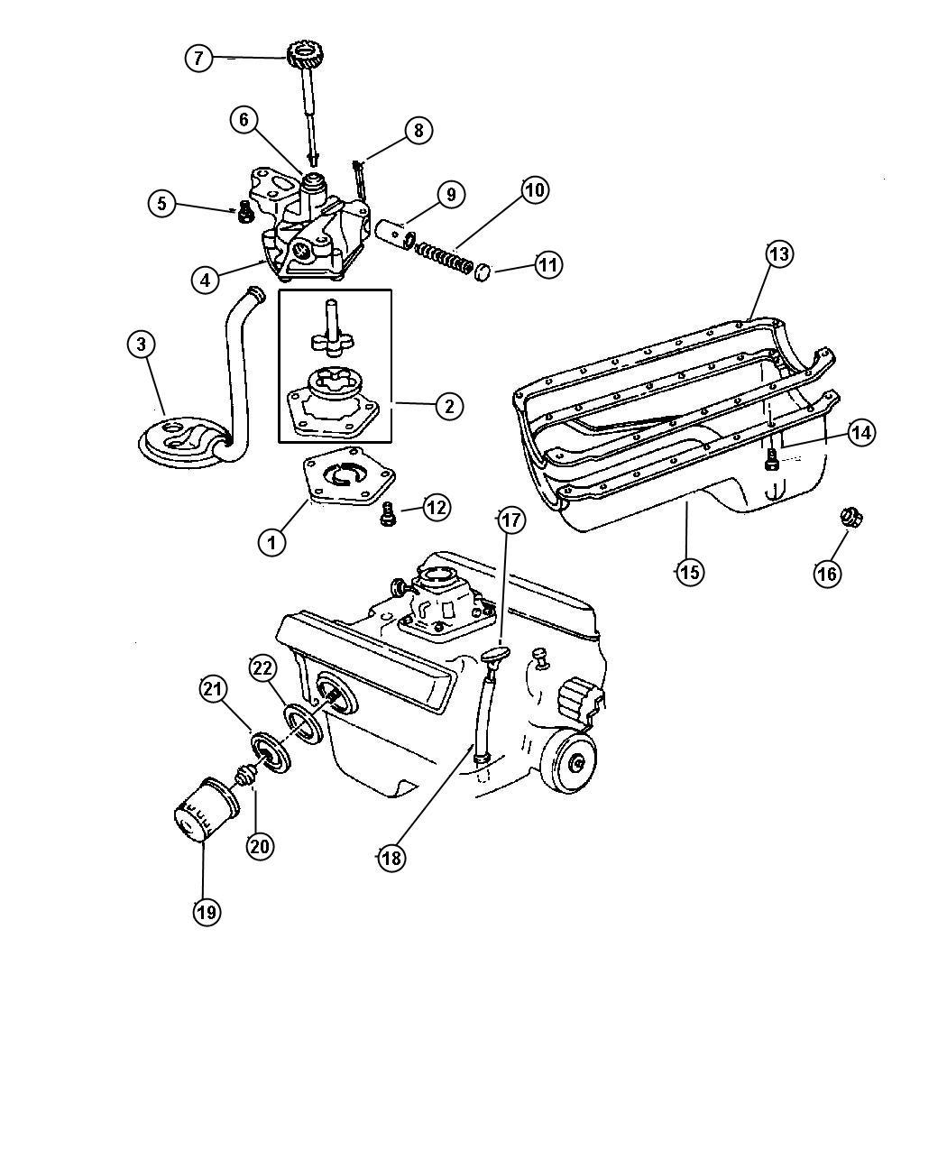 1998 Dodge Dakota Plate. Oil filter adapter. Engine