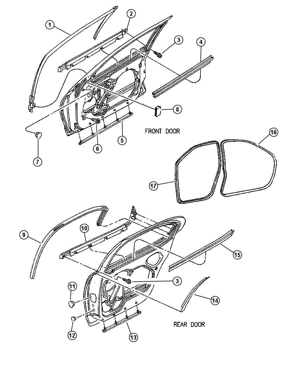 2000 Chrysler Cirrus Weatherstrip. Rear door sill
